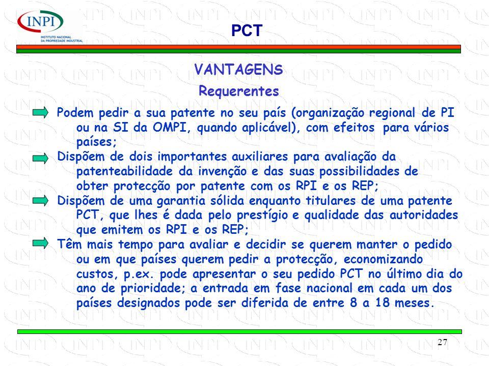 PCT VANTAGENS Requerentes
