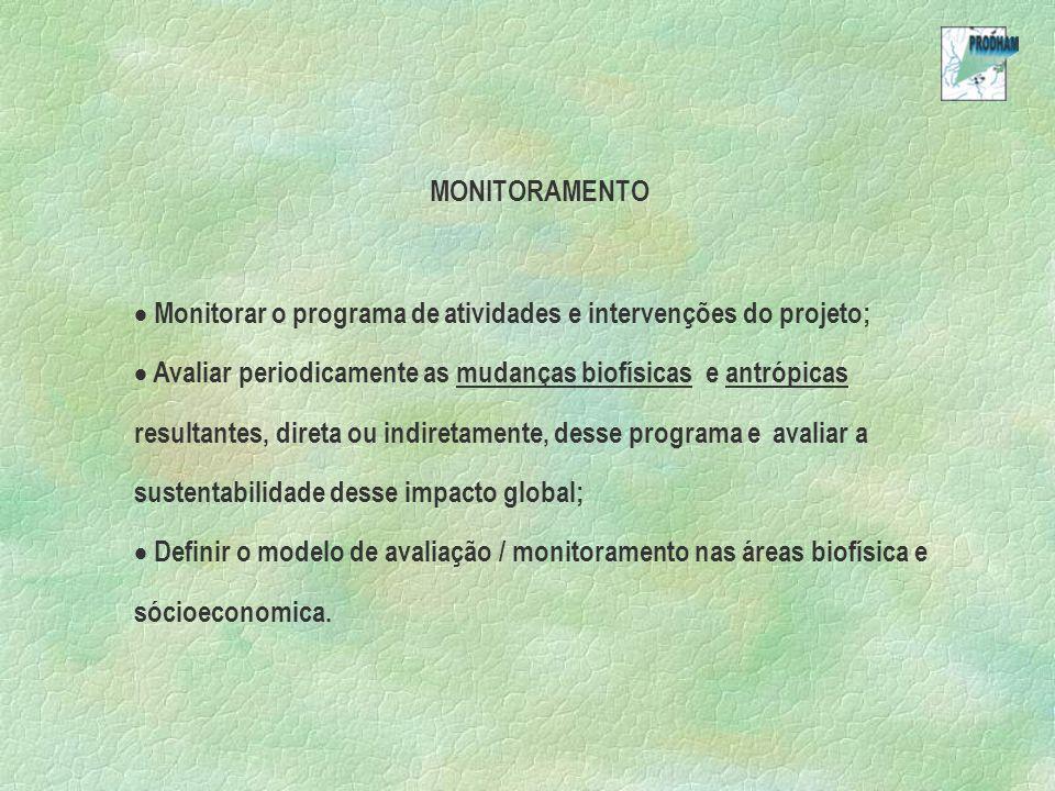 MONITORAMENTO Monitorar o programa de atividades e intervenções do projeto;