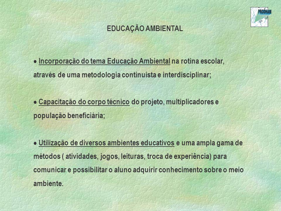 EDUCAÇÃO AMBIENTAL Incorporação do tema Educação Ambiental na rotina escolar, através de uma metodologia continuista e interdisciplinar;