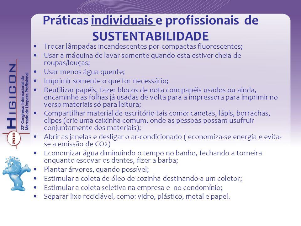 Práticas individuais e profissionais de SUSTENTABILIDADE