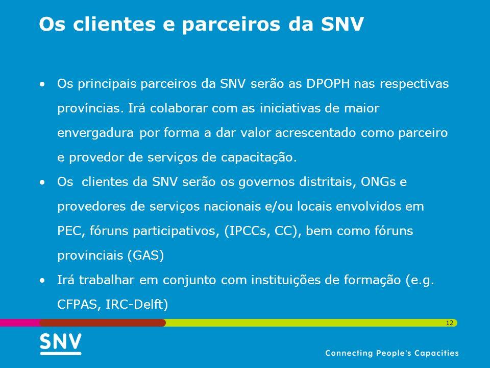 Os clientes e parceiros da SNV