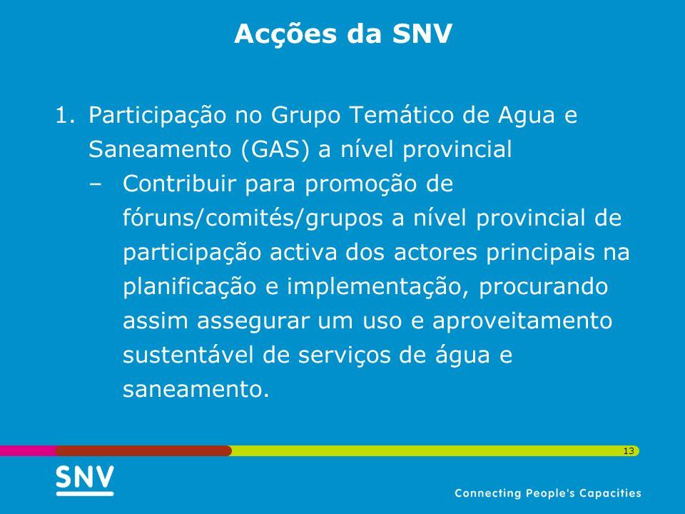 Acções da SNV Participação no Grupo Temático de Agua e Saneamento (GAS) a nível provincial.