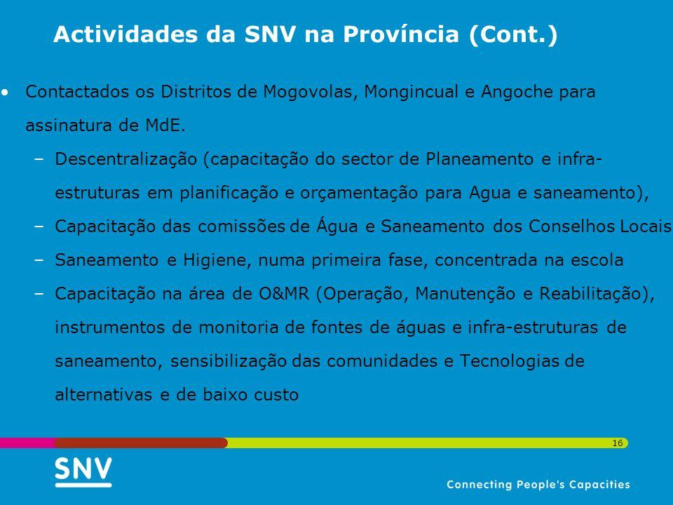 Actividades da SNV na Província (Cont.)