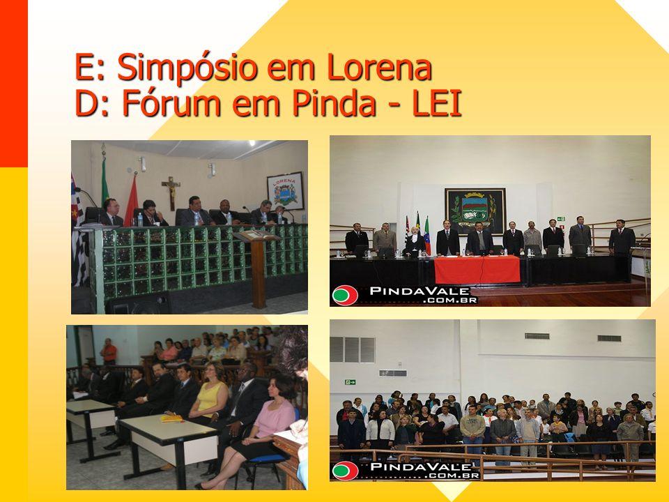 E: Simpósio em Lorena D: Fórum em Pinda - LEI