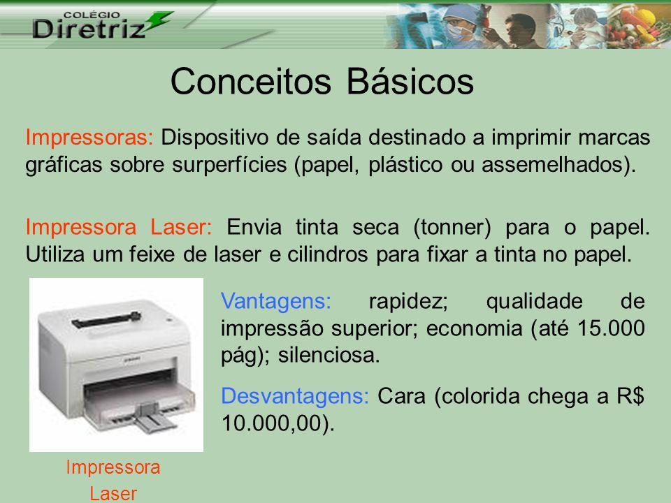 Conceitos Básicos Impressoras: Dispositivo de saída destinado a imprimir marcas gráficas sobre surperfícies (papel, plástico ou assemelhados).