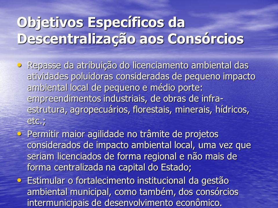 Objetivos Específicos da Descentralização aos Consórcios