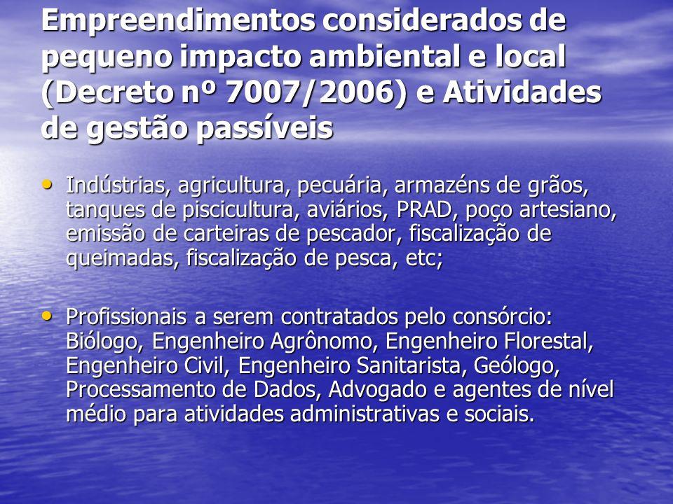 Empreendimentos considerados de pequeno impacto ambiental e local (Decreto nº 7007/2006) e Atividades de gestão passíveis