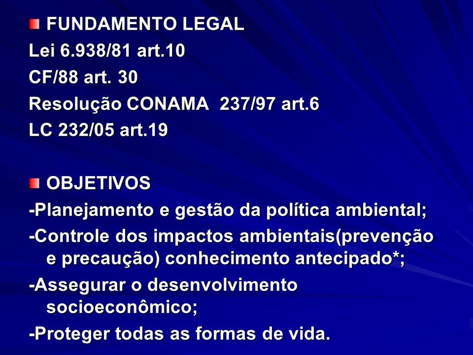 FUNDAMENTO LEGAL Lei 6.938/81 art.10. CF/88 art. 30. Resolução CONAMA 237/97 art.6. LC 232/05 art.19.