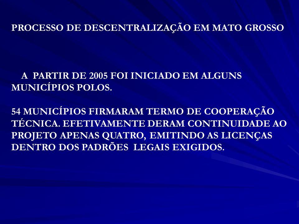 PROCESSO DE DESCENTRALIZAÇÃO EM MATO GROSSO