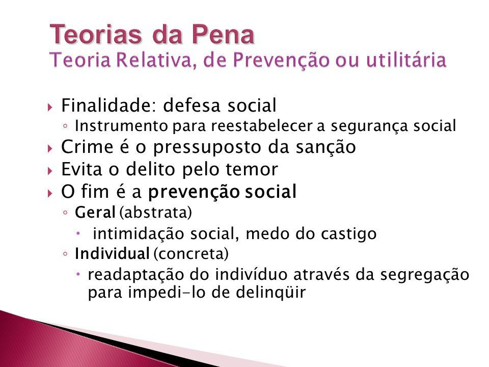 Teorias da Pena Teoria Relativa, de Prevenção ou utilitária