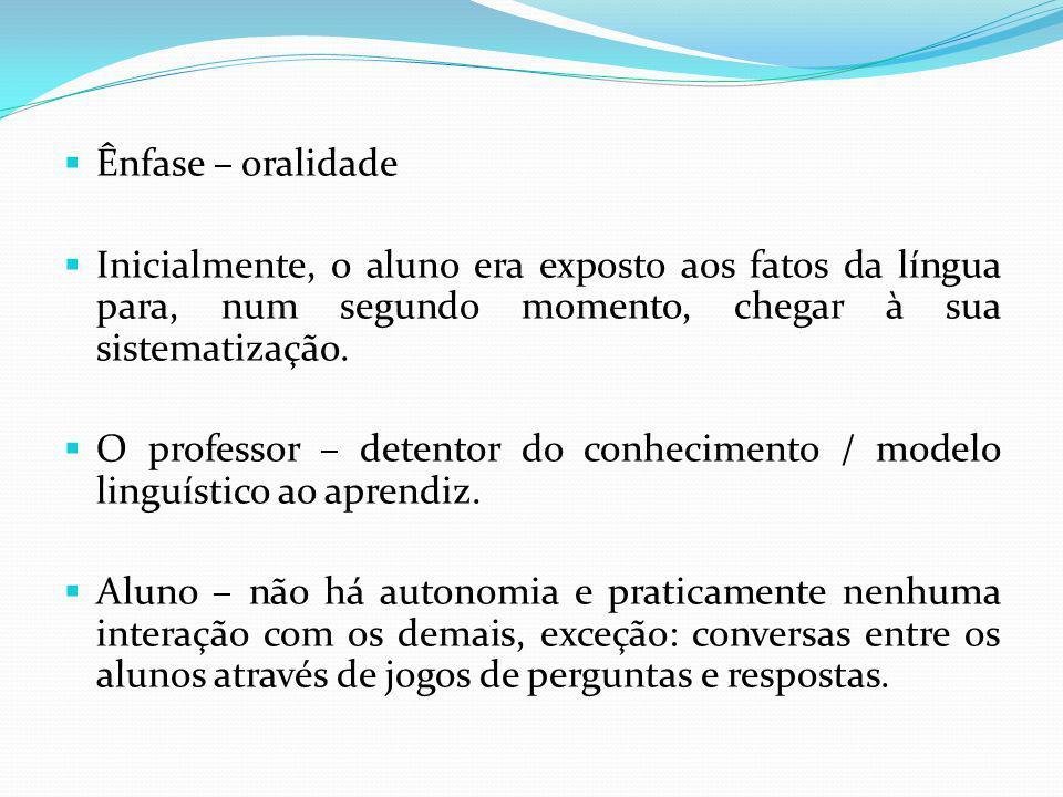 Ênfase – oralidade Inicialmente, o aluno era exposto aos fatos da língua para, num segundo momento, chegar à sua sistematização.