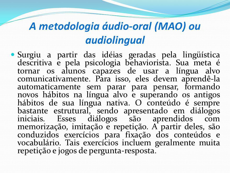 A metodologia áudio-oral (MAO) ou audiolingual