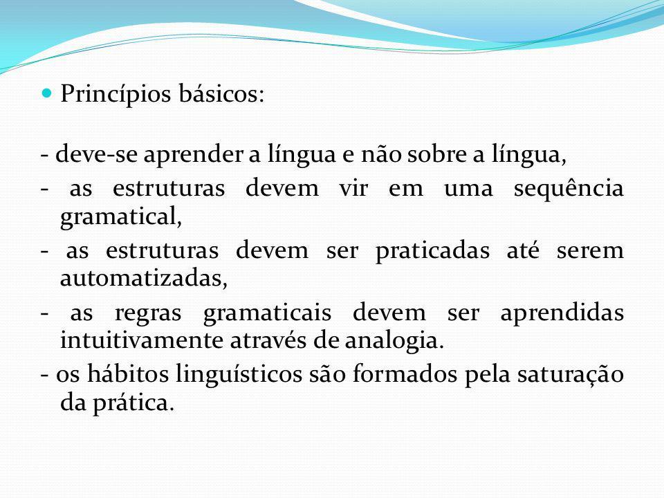 Princípios básicos: - deve-se aprender a língua e não sobre a língua, - as estruturas devem vir em uma sequência gramatical,