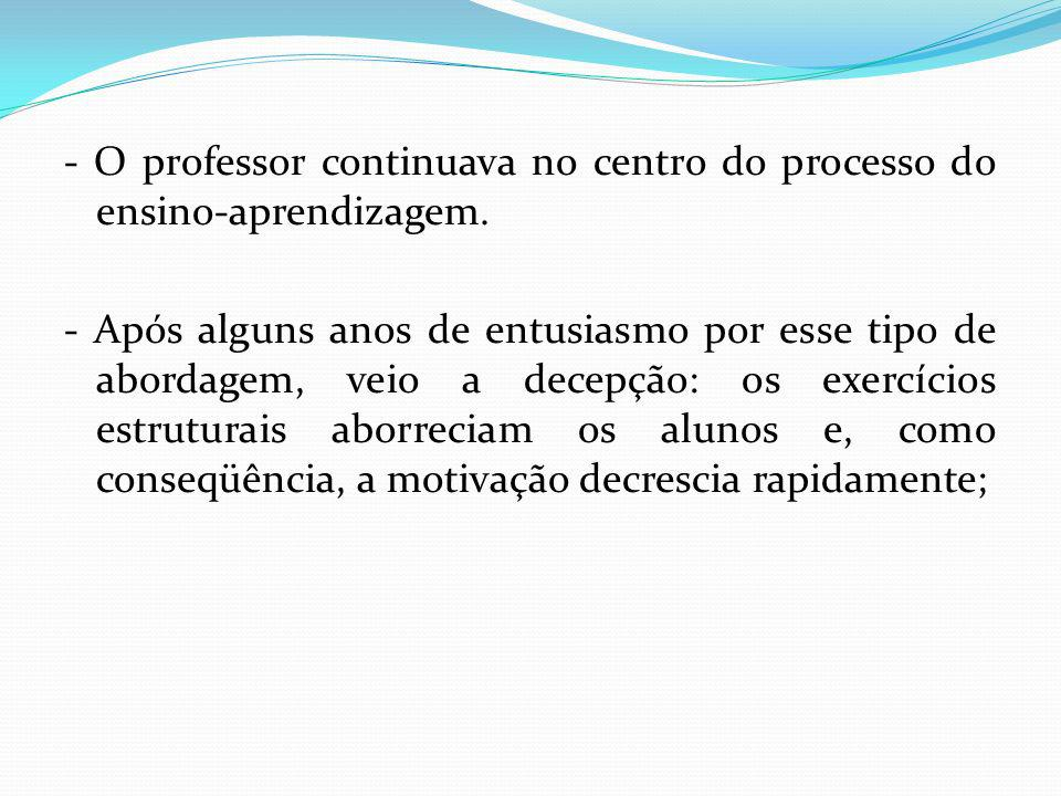 - O professor continuava no centro do processo do ensino-aprendizagem