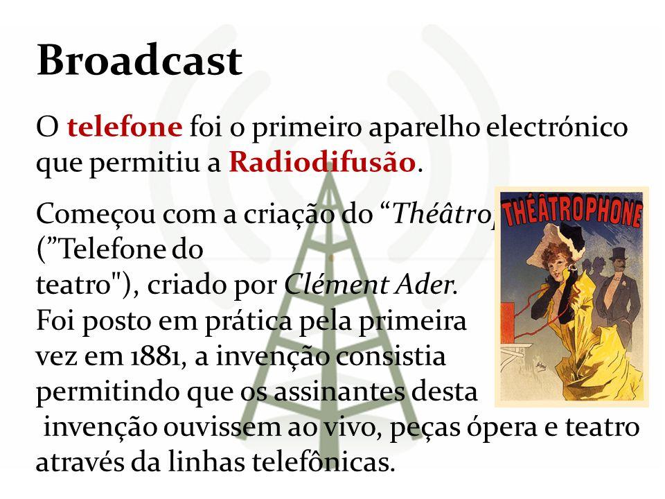 Broadcast O telefone foi o primeiro aparelho electrónico que permitiu a Radiodifusão. Começou com a criação do Théâtrophone ( Telefone do.