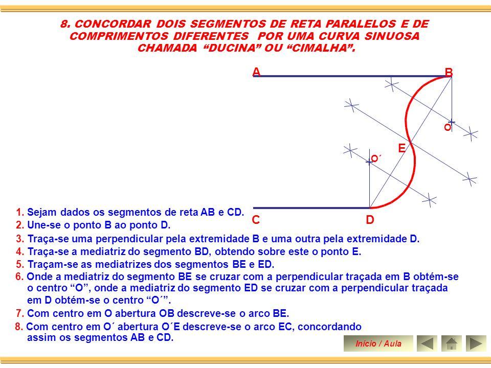 A B E C D 8. CONCORDAR DOIS SEGMENTOS DE RETA PARALELOS E DE