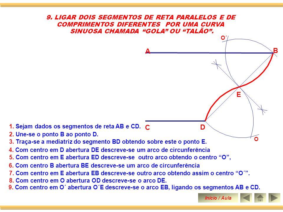 A B E C D 9. LIGAR DOIS SEGMENTOS DE RETA PARALELOS E DE