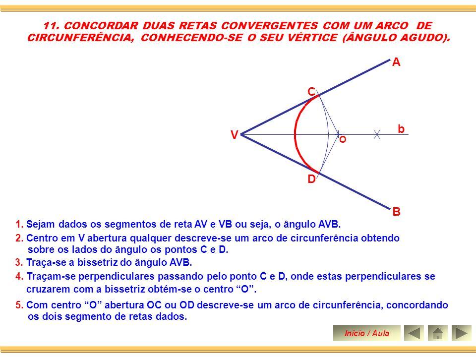 A C b V D B 11. CONCORDAR DUAS RETAS CONVERGENTES COM UM ARCO DE