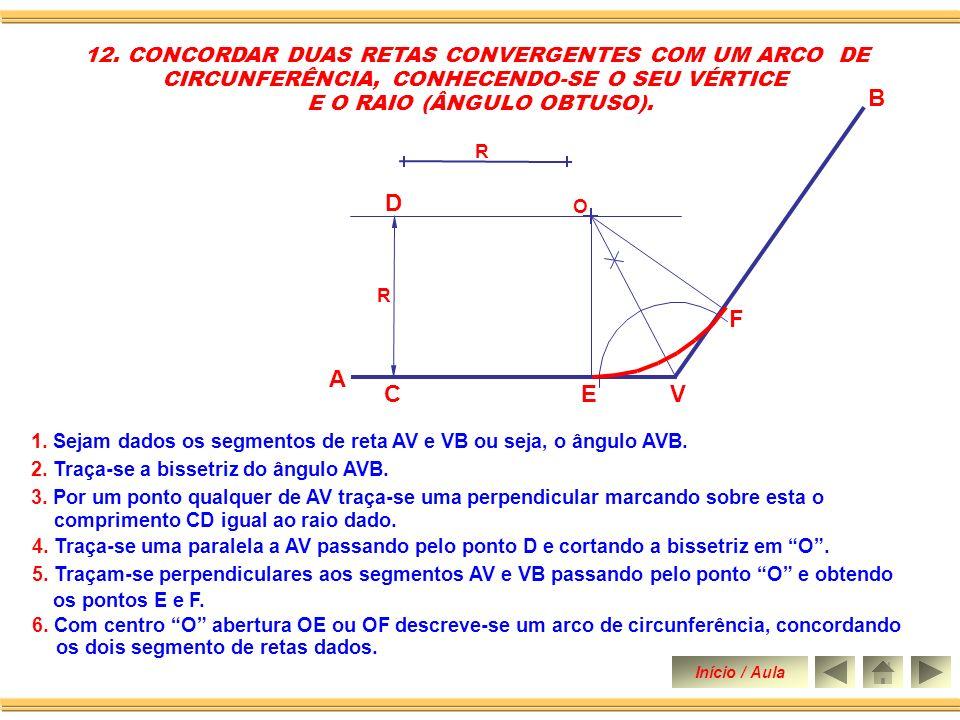 B V A C D E F 12. CONCORDAR DUAS RETAS CONVERGENTES COM UM ARCO DE