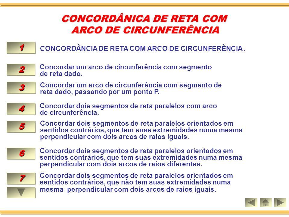 CONCORDÂNICA DE RETA COM ARCO DE CIRCUNFERÊNCIA