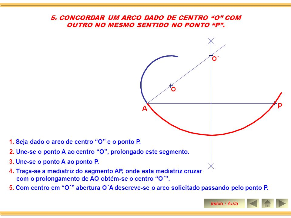 P A 5. CONCORDAR UM ARCO DADO DE CENTRO O COM