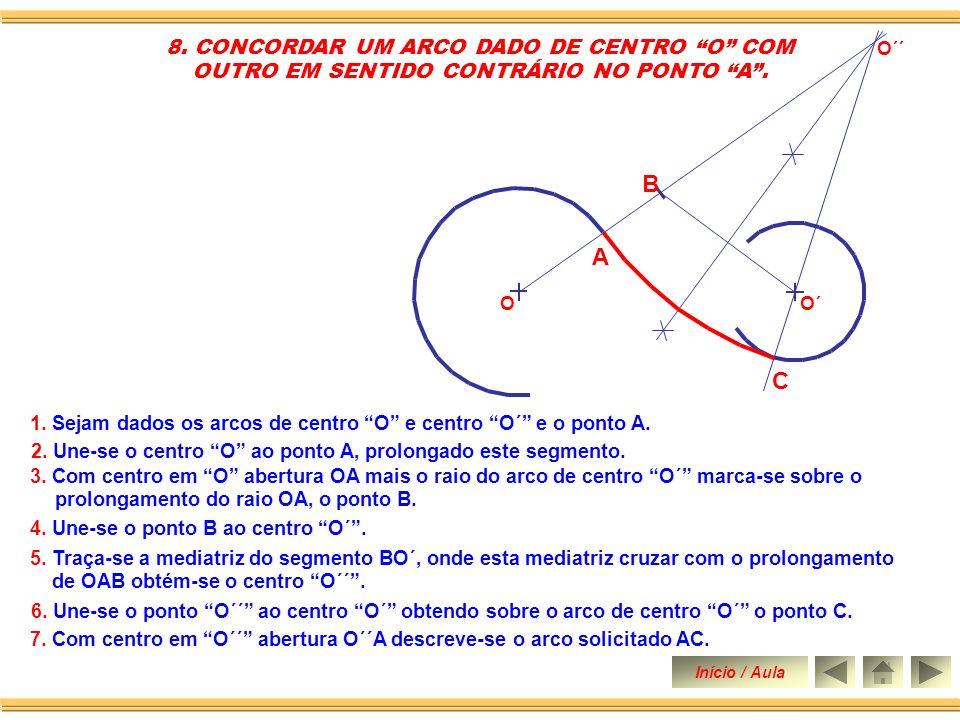 B A C 8. CONCORDAR UM ARCO DADO DE CENTRO O COM