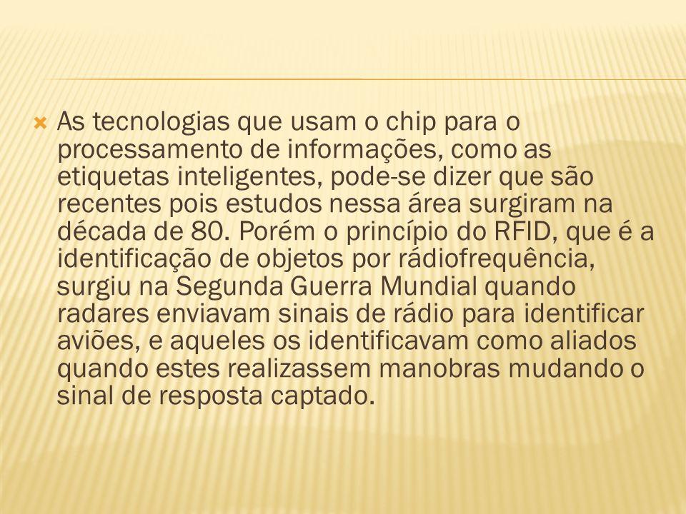 As tecnologias que usam o chip para o processamento de informações, como as etiquetas inteligentes, pode-se dizer que são recentes pois estudos nessa área surgiram na década de 80.
