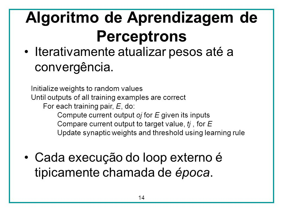 Algoritmo de Aprendizagem de Perceptrons