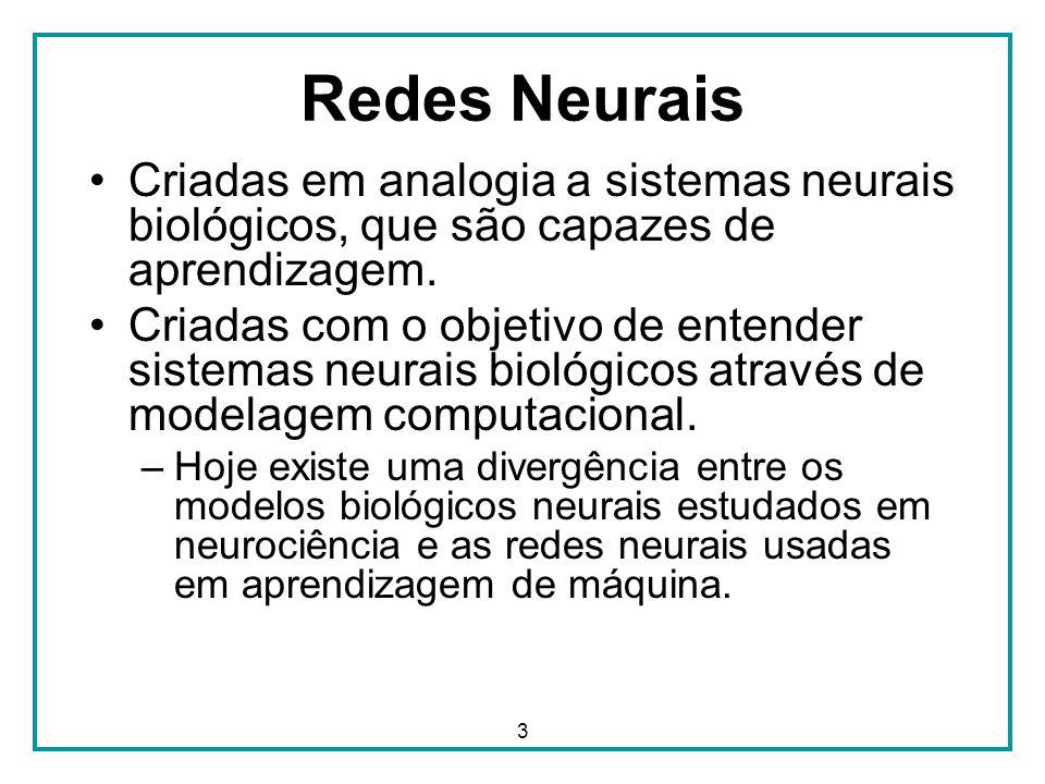 Redes Neurais Criadas em analogia a sistemas neurais biológicos, que são capazes de aprendizagem.