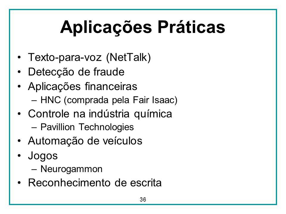 Aplicações Práticas Texto-para-voz (NetTalk) Detecção de fraude