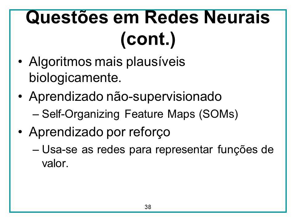 Questões em Redes Neurais (cont.)