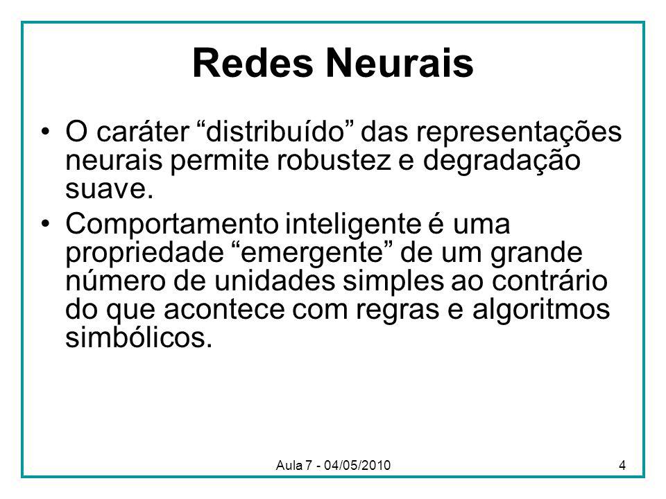 Redes Neurais O caráter distribuído das representações neurais permite robustez e degradação suave.