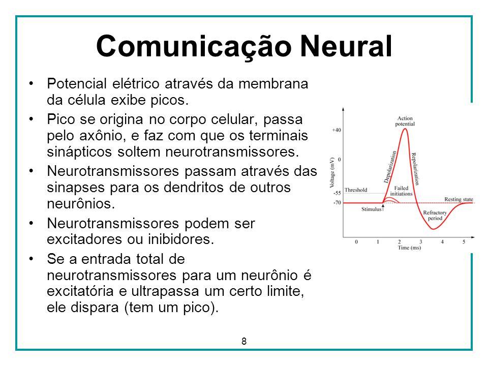 Comunicação Neural Potencial elétrico através da membrana da célula exibe picos.
