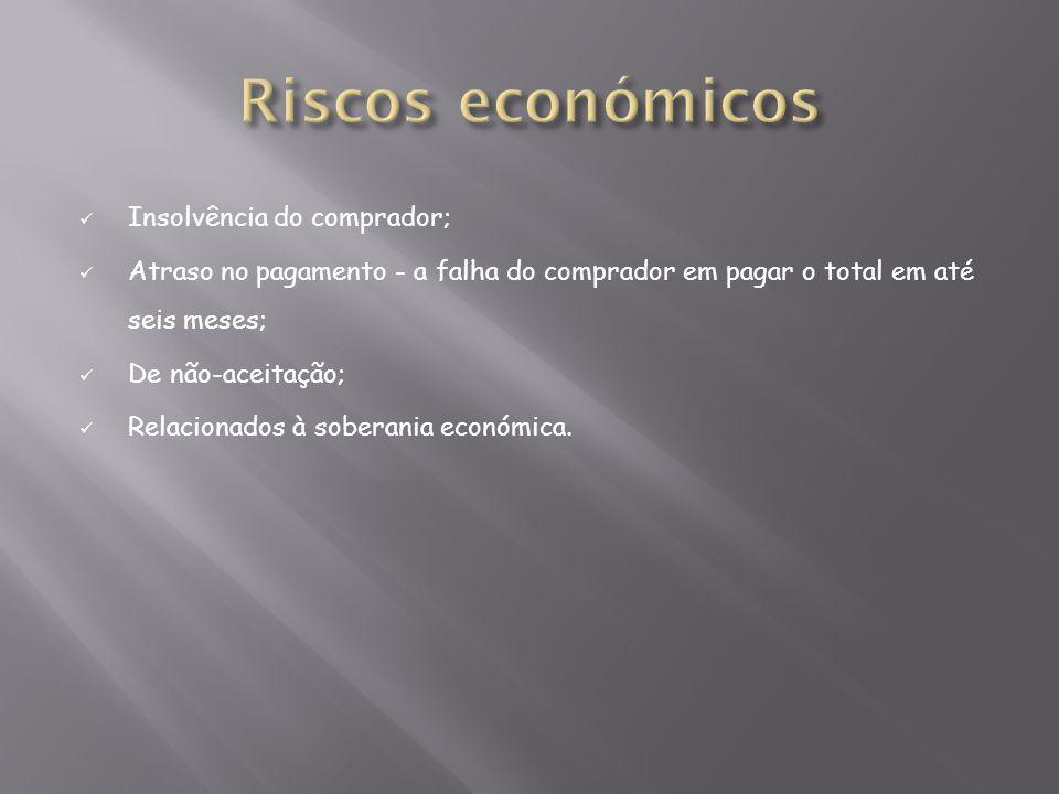 Riscos económicos Insolvência do comprador;