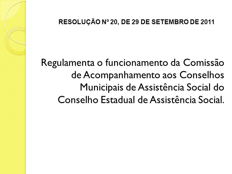 RESOLUÇÃO Nº 20, DE 29 DE SETEMBRO DE 2011