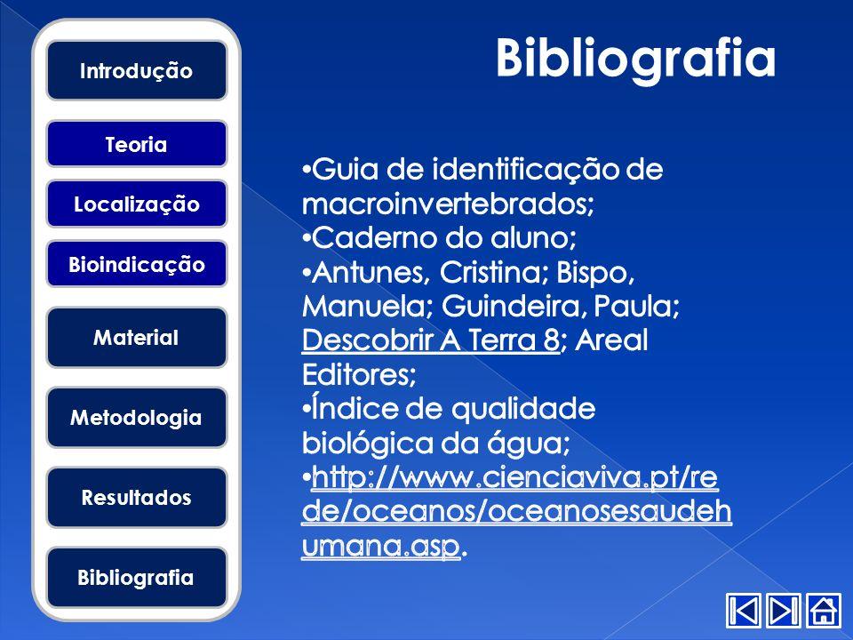 Bibliografia Guia de identificação de macroinvertebrados;