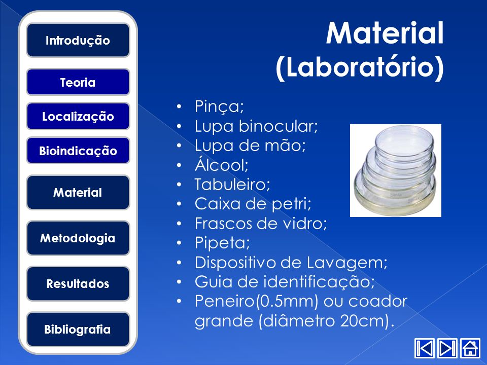 Material (Laboratório) Pinça; Lupa binocular; Lupa de mão; Álcool;