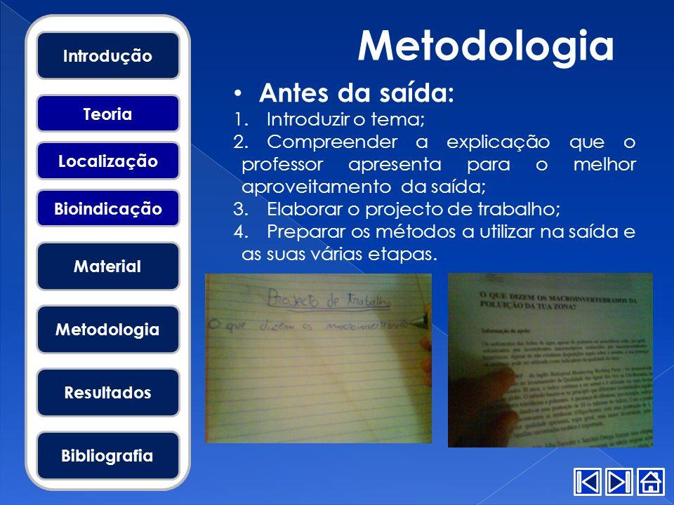 Metodologia Antes da saída: Introduzir o tema;