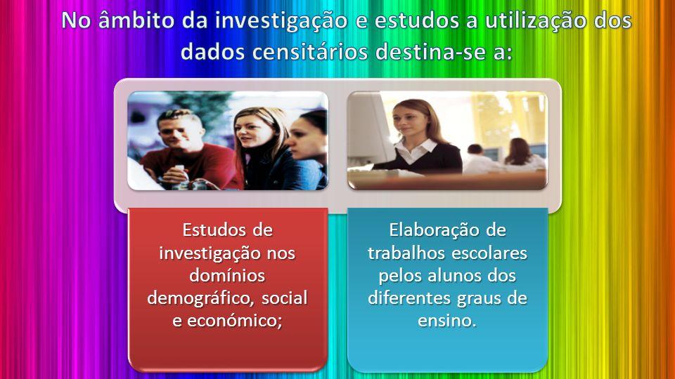 Estudos de investigação nos domínios demográfico, social e económico;