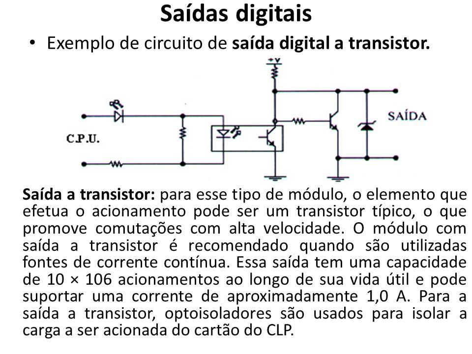 Saídas digitais Exemplo de circuito de saída digital a transistor.