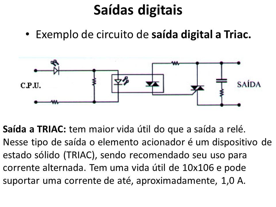 Exemplo de circuito de saída digital a Triac.