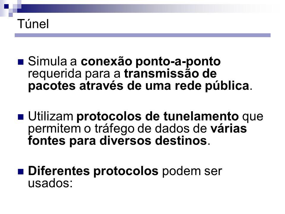 Túnel Simula a conexão ponto-a-ponto requerida para a transmissão de pacotes através de uma rede pública.