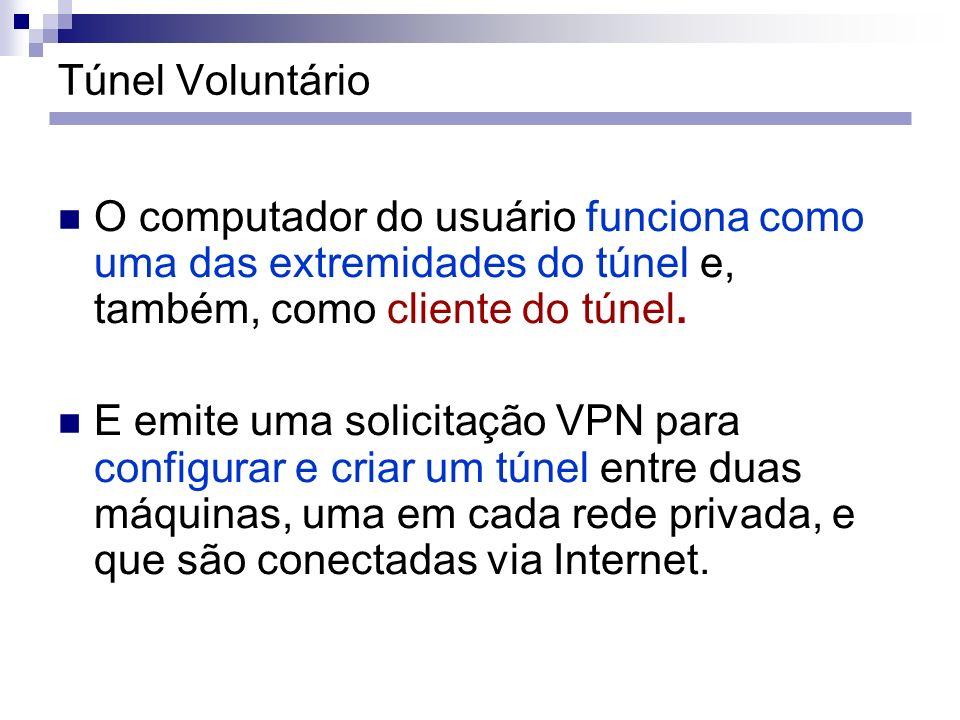 Túnel Voluntário O computador do usuário funciona como uma das extremidades do túnel e, também, como cliente do túnel.