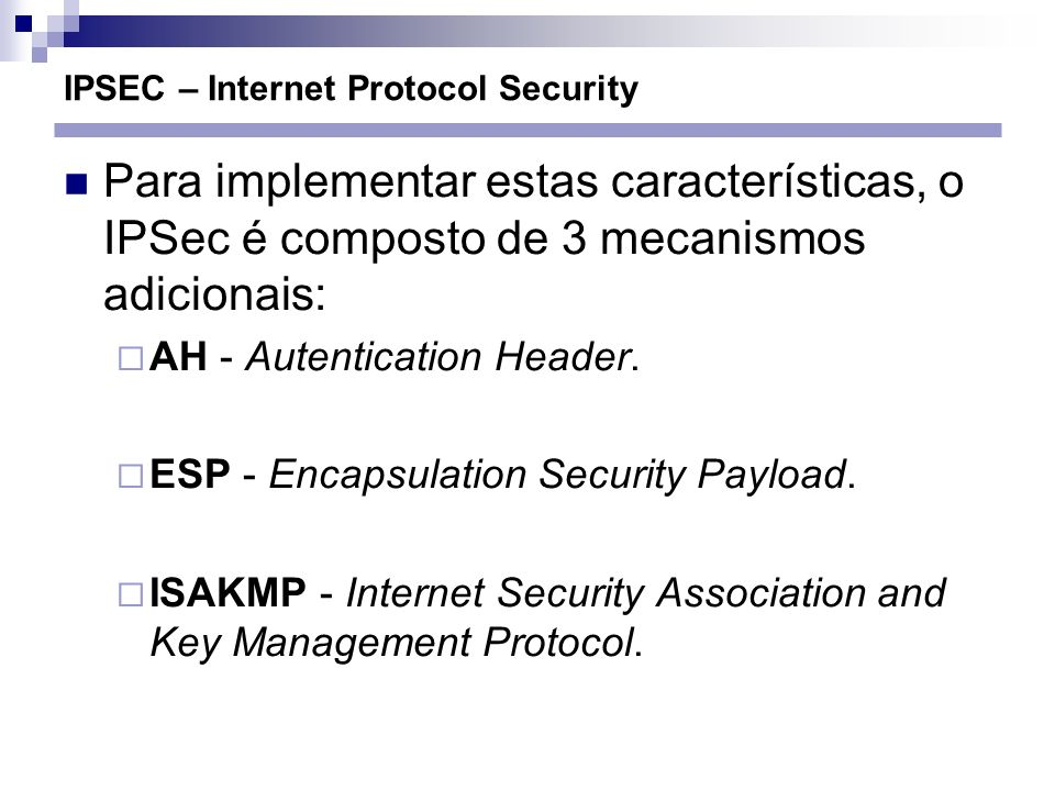 IPSEC – Internet Protocol Security
