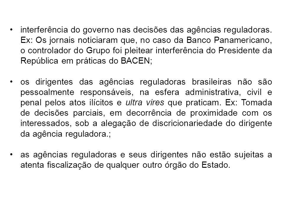 interferência do governo nas decisões das agências reguladoras