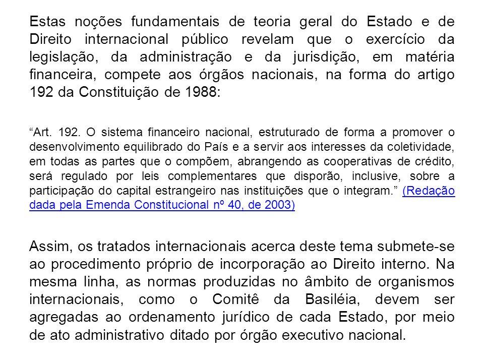 Estas noções fundamentais de teoria geral do Estado e de Direito internacional público revelam que o exercício da legislação, da administração e da jurisdição, em matéria financeira, compete aos órgãos nacionais, na forma do artigo 192 da Constituição de 1988: