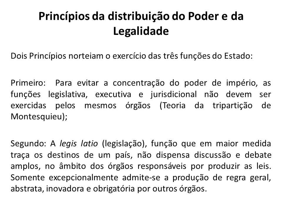 Princípios da distribuição do Poder e da Legalidade