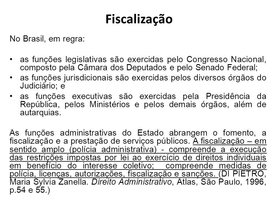 Fiscalização No Brasil, em regra: