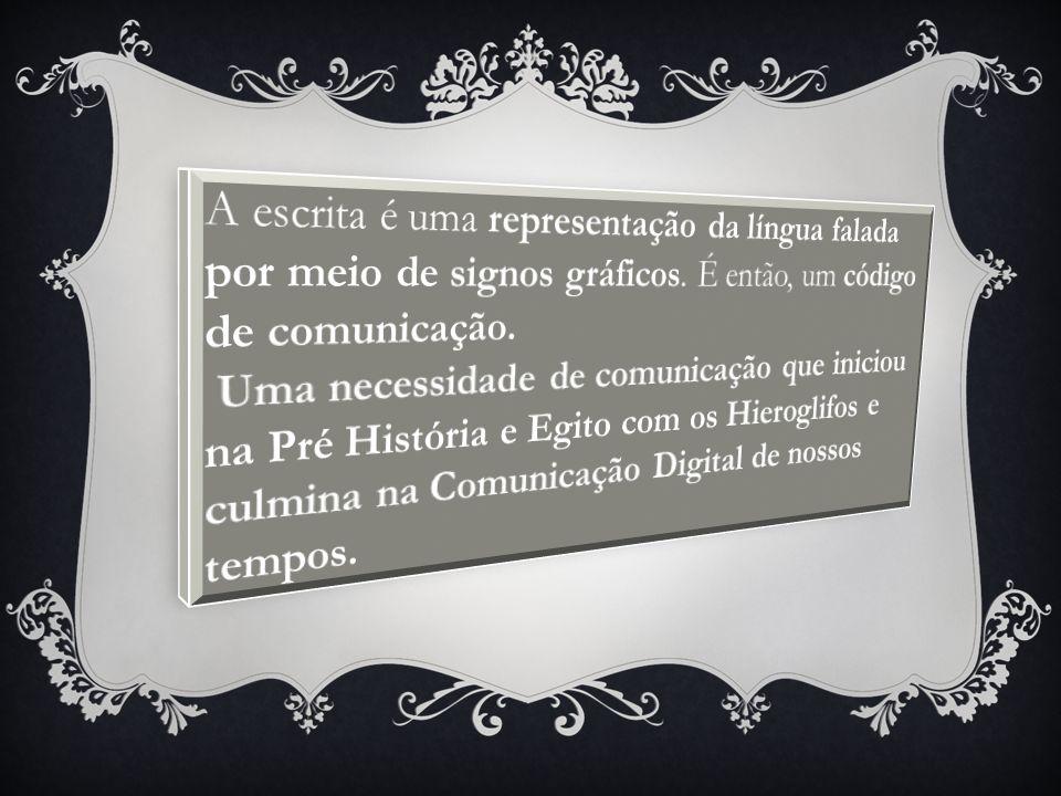 A escrita é uma representação da língua falada por meio de signos gráficos. É então, um código de comunicação.