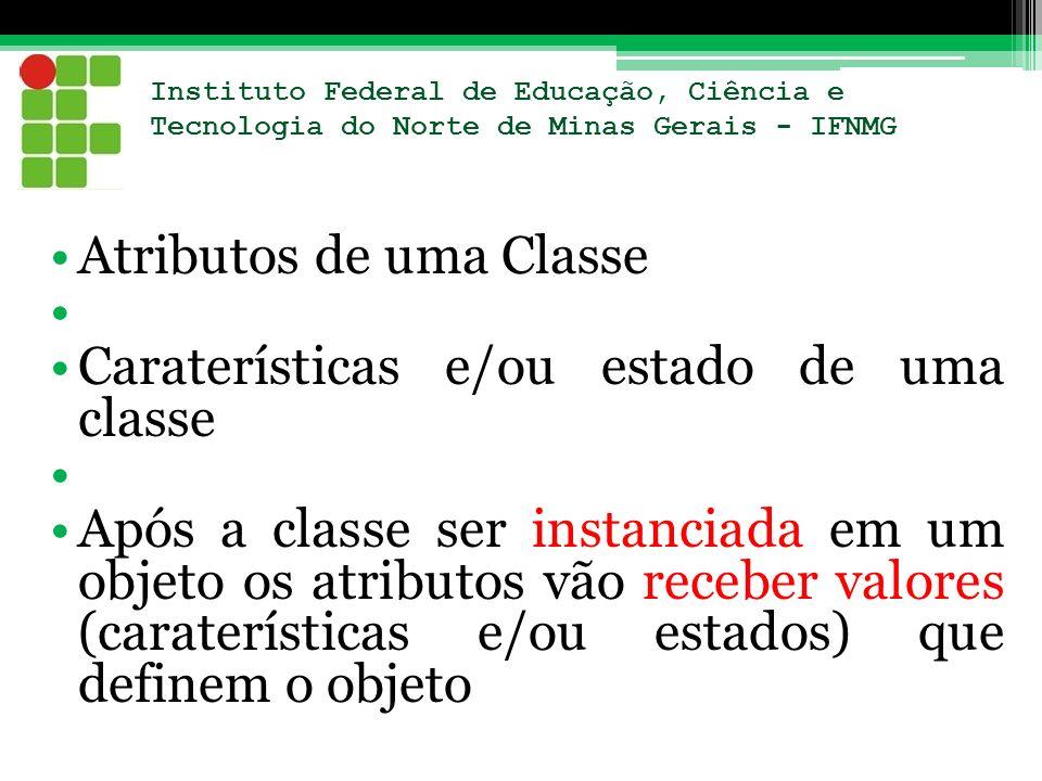 Atributos de uma Classe Caraterísticas e/ou estado de uma classe
